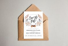 NEW // Save The Date // Fall Wedding // Watercolor by gemstock
