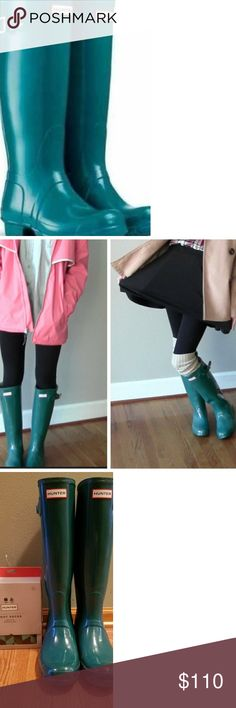 Tall Green/Teal Hunter Boots & Hunter Boot Socks 💚💙Excellent Condition💙💚 Tall Original Green/Teal Hunter Boots. Barely worn size 8. Also includes New In Box Hunter Boot Socks (Size Large) fits sizes 7-9 shoes. What a perfect combo!! Priced together for a great deal! Hunter Shoes Winter & Rain Boots