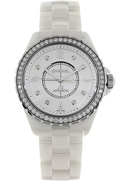 Chanel White Ceramic and Diamond J12 Chromatic Unisex Automatic Watch H3111