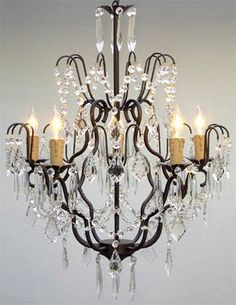"GO-A7-C/3033/5 Wrought Iron Crystal Chandelier Chandeliers Lighting H27"" x W21"" Price: $122.40"