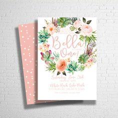 Boho Flower Birthday Invitation Succulent by ohbejoyfulshop