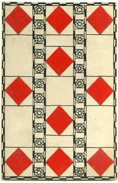 Wiener Werkstätte Pack of Cards Design: Ten of Diamonds by Carl Otto Czeschka ▫ c1906