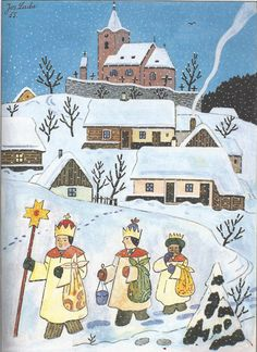 "The Christmas Nativity . ""The Three Kings"", by Josef Lada Holiday Celebrations Around The World, Celebration Around The World, Winter Illustration, Christmas Illustration, Christmas Scenes, Christmas Art, Christmas Nativity, Christmas Ideas, Christmas Decorations"