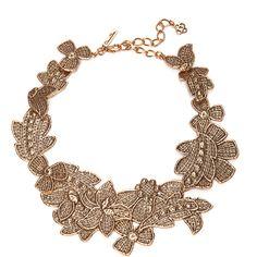 Oscar de la Renta Antique Lace Bib Necklace found on Polyvore