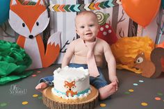 Woodland animal cake smash in Eagle River, Alaska with Karen Travers Photography 1st Birthday Cake Smash, Baby Boy 1st Birthday, Boy Birthday Parties, Woodland Theme Cake, Bebe 1 An, Fox Cake, Eagle River, Baby Boy Cakes, Cake Smash Photos