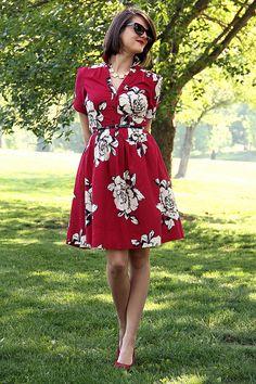 ...red, black white floral print dress...