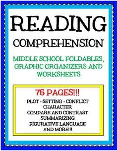 Reading Comprehension: Middle School Foldables, Activities, and Worksheets - MiddleSchoolTeacher - TeachersPayTeachers.com