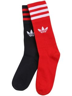 ADIDAS ORIGINALS Logo & Stripes Cotton Blend Crew Socks, Red/Navy. #adidasoriginals #cloth #underwear