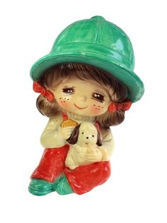 Vintage, Painted Floppy Hat, Little Girl and Puppy Ceramic BankItem: Still BankModel: Little Girl with Floppy Hat and PuppyMaterial: CeramicDimensio Hand Painted Ceramics, Have Some Fun, Adult Costumes, Piggy Bank, Dogs And Puppies, Little Girls, Projects To Try, Japan, Pennies
