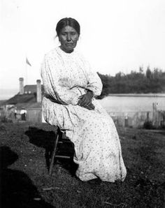 Suquamish/Duwamish woman known as Janey Davis, Old Man House, Port Madison Indian Reservation, Washington, July 4, 1904. :: American Indians of the Pacific Northwest -- Edmond Meany collection UW. Caption in album: Janey, daughter of Old Indian John of Lake Union, Old Man House.