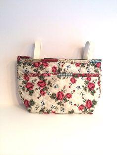 Quilted Cream and Rose Walker Bag - Stroller Bag - Scooter Bag - Floral Walker Tote on Etsy, $28.00
