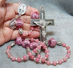 Pink Chalcedony Rosary Pave Swarovski 'Be Charmed' beads St Benedict Crucifix by HeartFeltRosaries.com