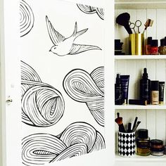 Removable wallpaper tiles make cabinets so much more hygge! In Daydream Black & White.