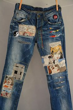 All SIZES High Waist Destroyed Boyfriend Jeans Distressed and Totally Patched Jeans Womens size 6 High Waisted Mom Jeans// all sizes by MyQueensWish on Etsy - High Waisted Jeans - Ideas of High Waisted Jeans Jean Rapiécé, Jean Diy, Diy Jeans, Women's Jeans, Jeans Refashion, Patch Jeans, Jeans Size, Painted Jeans, Painted Clothes