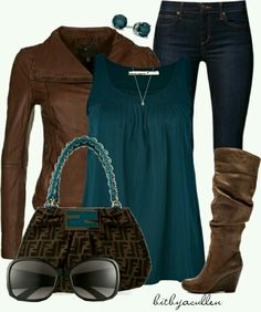 Teal and brown....that purse is hot