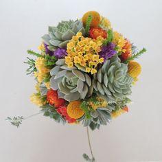 Succulent Bouquet Yellow Orange Green by SucculentlyUrban on Etsy
