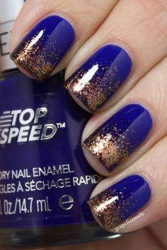 Cobalt blue and copper glitter tips