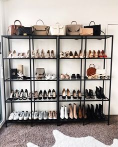 Recently I've been receiving so many questions regarding my handbag and shoe collection. I thought it would be a great time to put everything into one post, that way it can be used as a reference going forward. Last month… Wardrobe Room, Walk In Wardrobe, Closet Bedroom, Handbag Display, Shoe Display, Handbag Storage, Handbag Organization, Closet Office, Office Shoes