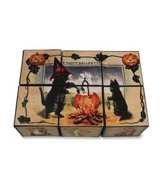 Coffee Table Top Fun A fun Halloween game and decoration with vintage Halloween images. This Halloween game makes six different patterns. • Bethany Lowe Halloween. • Pressed paper blocks make six diff