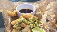 Tempurafritert fisk med grønnsaker