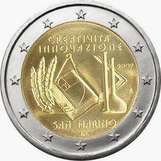 Sammarinesecommemorative 2 euro coins -European Year of Creativity and Innovation Commemorative 2 euro coins fromSan Marino