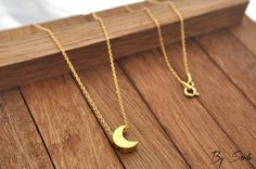 Sterling Silver moon necklace gold plated, necklace moon, moon, moon pendant, Charm moon, moon jewelry, crescent, half moon, full moon