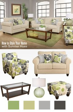 Design your living room with summer hues any time of the year! Add patterns with fresh colors like yellow and green against neutral tones to revamp your décor.