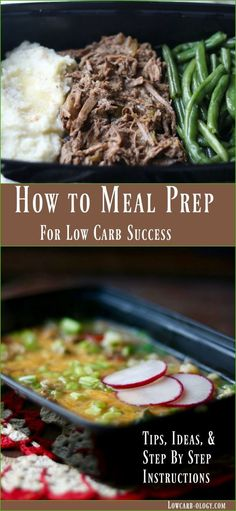 Learn how to meal prep for low carb success with these step by step tips and ideas from http://Lowcarb-ology.com via @Marye at Restless Chipotle