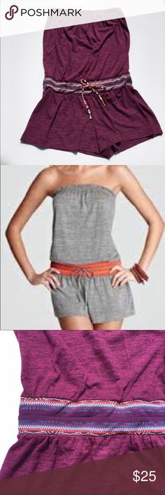 Lucky Brand Romper or Bathing Suit Cover Up Lucky Brand Strapless Romper or Bathing Suit Cover Up  ⛱ Elastic waistband with adjustable drawstring tie ⛱ Pre-owned, perfect condition ⛱ 50% Polyester, 38% Cotton,          12% Rayon  *** Actual item is in the  wine-purple color Lucky Brand Shorts