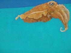 水槽の水面近くを漂うコウイカ。麻紙、水干絵の具、岩絵の具。27.5×22.0|ハンドメイド、手作り、手仕事品の通販・販売・購入ならCreema。