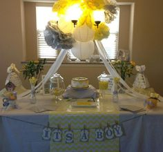 """Idea starter- Love the yellow and grey and the chevron pattern. """"Yellow and Grey Baby Shower"""" 