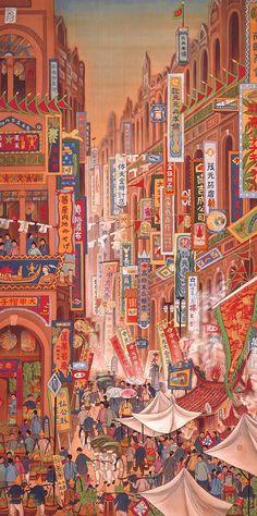 Kuo Hsueh-Hu 郭雪湖, Festival on South Street 南街殷賑, 1930.