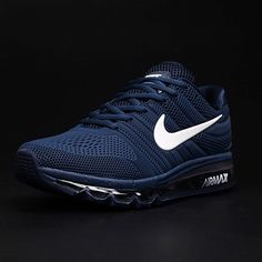 finest selection ab3ee 12755 Zapatillas Hombre Nike Air Max 2017 Blanco Azul Oscuro Logotipo Nike Air  Max Trainers, Mens