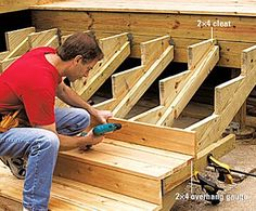 Building deck stairs is actually quite easy but is probably the hardest to master as a beginner till you gain a good understanding of the process. Building deck stairs is different to trying to build… Railing Design, Deck Design, Wood Design, Steps Design, Staircase Design, Garden Design, Building Stairs, Building A Pergola, Pergola Plans