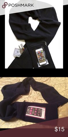 "T-Touch Touchscreen Scarf NWOT Zipper closure. Fits iPhone and similarly-sized Android; work your touchscreen thru the window without removing from pocket. Micro 250 Fleece, the vegan alternative to wool, anti-pilling, ""soft and luxurious with a velvety feel"". Separate zippered pouch to hold other items (key, cash, cards, lipstick, passport). Eliminate need to carry a purse. Accessories Scarves & Wraps"