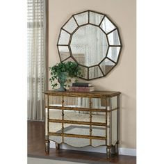 Mirrored Chest - Wood and Antique Glass - Creative Co-Op