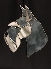"""Leaded Stained Glass Schnauzer Dog 8.5"""" X 7.5"""""""