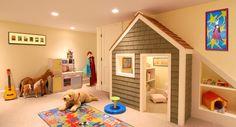 Kids Playroom Kids Indoor Playhouse, Playhouse Plans, Indoor Playground, Mini Loft, Playroom Design, Playroom Ideas, Kid Playroom, Toy Rooms, Under Stairs