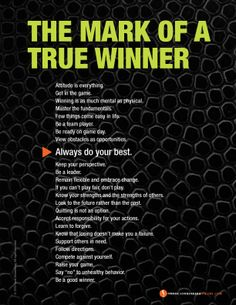 The Mark of a True Winner | Values to Live By | www.FrankSonnenbergonline.com