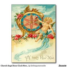 Cherub Angel Rose Clock New Year Postcard