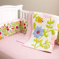 So shabby chic and sweet for a little girl. Love the blends of traditional pink with lime green, red and blue. Love!