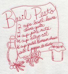 Basil Pesto (Redwork)