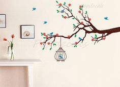 Flower Branch Wall Decals Floral Tree Branch Stickers- Spring Floral Branch with Birdcage - Removable Wall Tree Decals Stickers Baby Nursery by PopDecorsPrintArts on Etsy https://www.etsy.com/uk/listing/129101639/flower-branch-wall-decals-floral-tree
