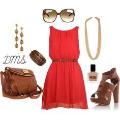 """Red Summer Dress"" by dmsteger on Polyvore"