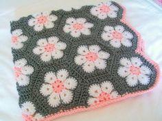 Flor africana hexagonal bebé Manta Crochet blanco rosa gris