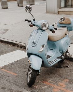 One day I would love to own a Vespa. Isn't this pale blue one a beauty? Worth … One day I would love to own a Vespa. Isn't this pale blue one a beauty? Worth having that cab toot its horn at me really loudly so I could get the shot! New York , NYC Light Blue Aesthetic, Blue Aesthetic Pastel, Aesthetic Colors, Aesthetic Vintage, Aesthetic Pictures, Blue Aesthetic Tumblr, Aesthetic Drawings, Aesthetic Girl, Aesthetic Clothes