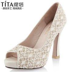 "2013 Summer Ivory Lace Peep Toe Platform Wedding Sandals 4"" Spool Heel Pumps"