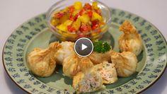 Zalm-pindawontons met mango-mosterdchutney - recept | 24Kitchen