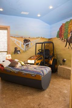 What boy wouldn't love to have a tractor in his room? I know some grown boys that would love it.