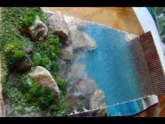 Diorama de estudio para representar agua en las maquetas, utilizando plancha de resina con Fibra de vidrio, Poximix,Foamboard y Carton microcorrugado